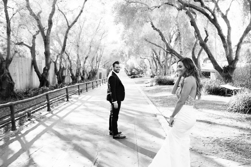 bride and groom laughing santa barabara zoo wedding and engagement pictures