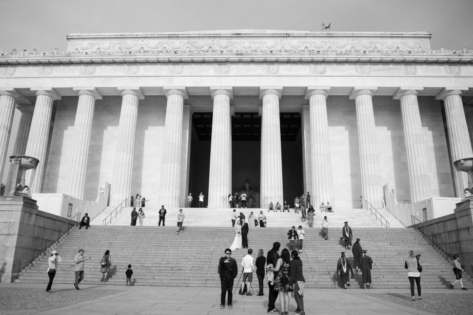 bride and groom steps of lincoln memorial washington dc wedding and elopement by nicole caldwell