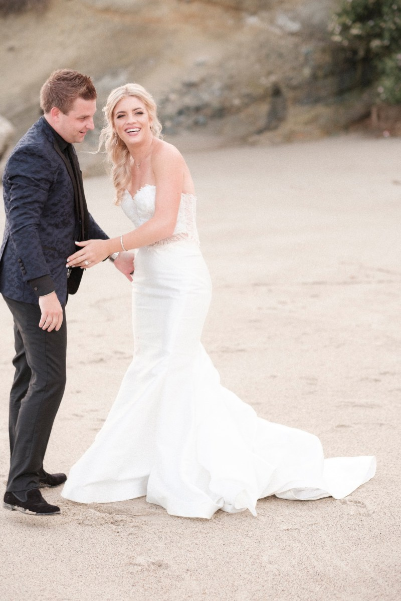 couple laughing bride and groom wedding montage laguna beach