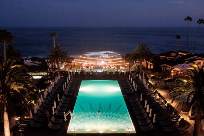 ariel view montage dance floor wedding laguna beach