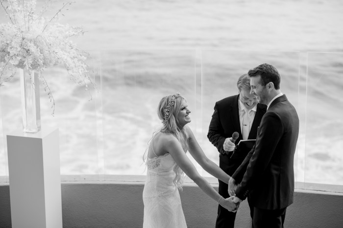 bride and groom wedding ceremony ocean terrace wedding photos surf and sand resort laguna beach
