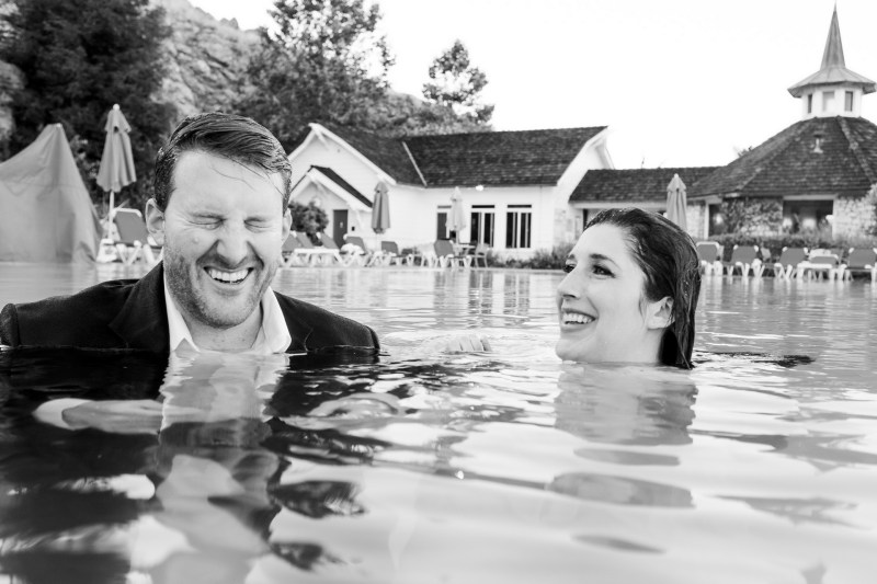 couple in pool madonna inn nicole caldwell photographer
