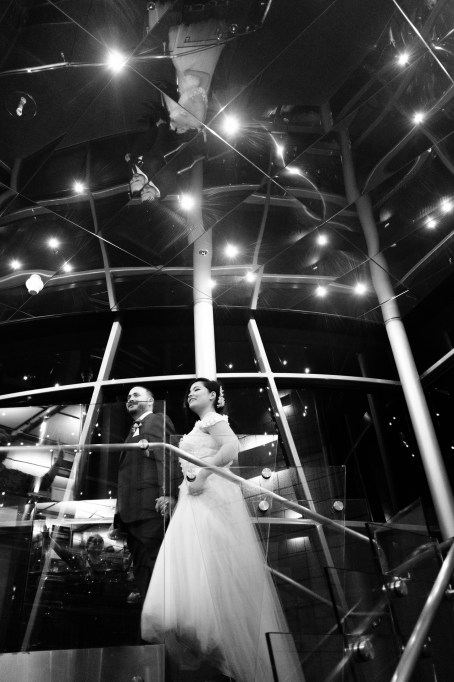 bride and groom on staircase seven degrees wedding photographer laguna beach