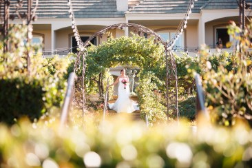 artistic temecula wedding photographer churon winery elepement bride walking down stairs