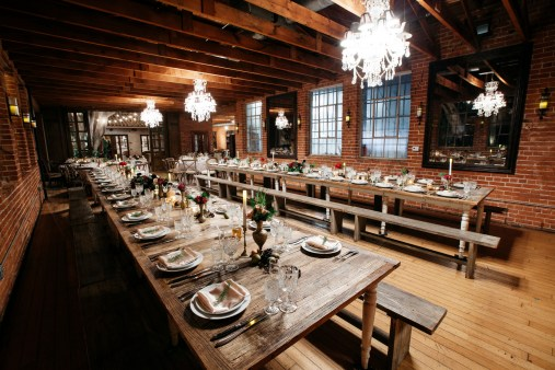 carondelet wedding reception room farm tables
