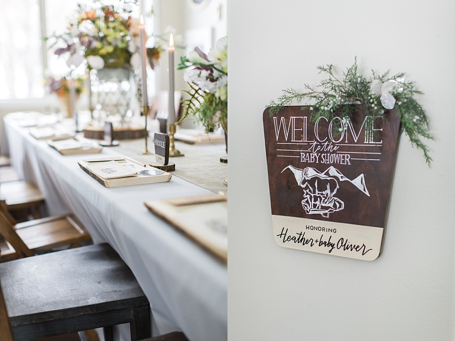 National parks baby shower hand lettered sign and table styling