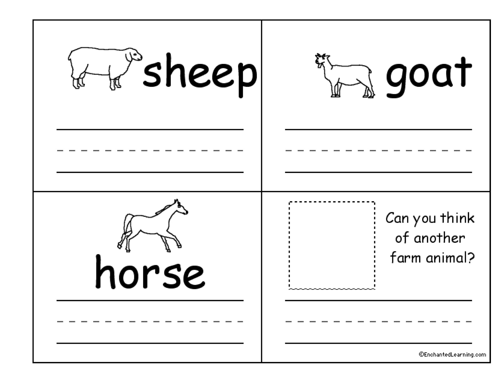 Farm Animal Writing Paper