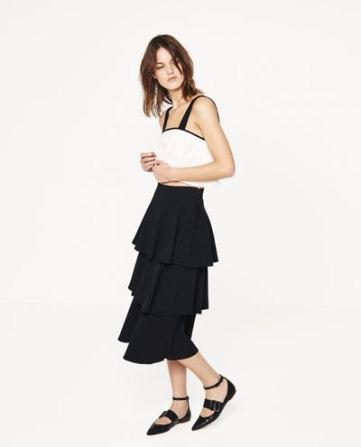 Zara - falda larga volantes