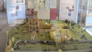 A model of what Glastonbury Abbey looked like in the Middle Ages
