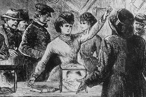 """H. Balling, """"Victoria C. Woodhull at the Polls,"""" Harper's Weekly, 25 November 1871"""