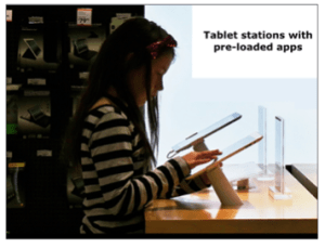 Tablet stations with pre-loaded apps