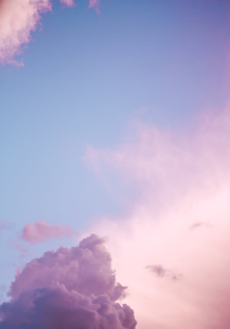 pink and blue sky at sunset