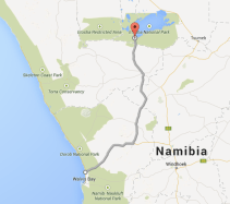 Map of route from Etosha to Swakop