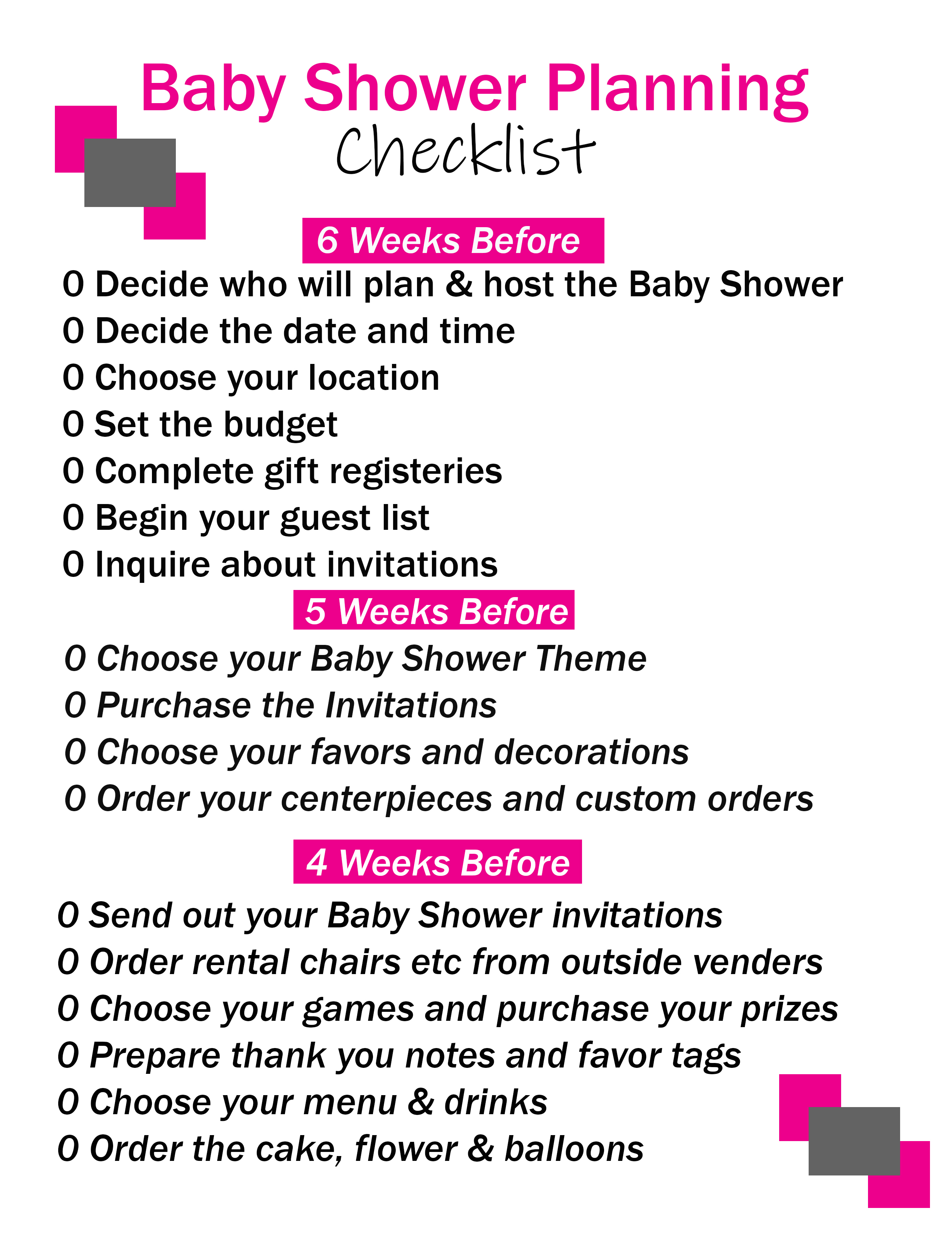 Baby Shower Planner Printable