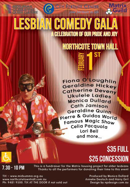 Nicole Phillips, designer, Lesbian Comedy Gala featuring Monica Dullard on Vespa