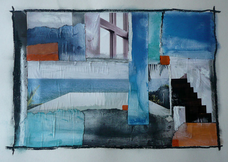 Stairs series collage on paper, abstract squares and stairs in various muted blue and orange colours