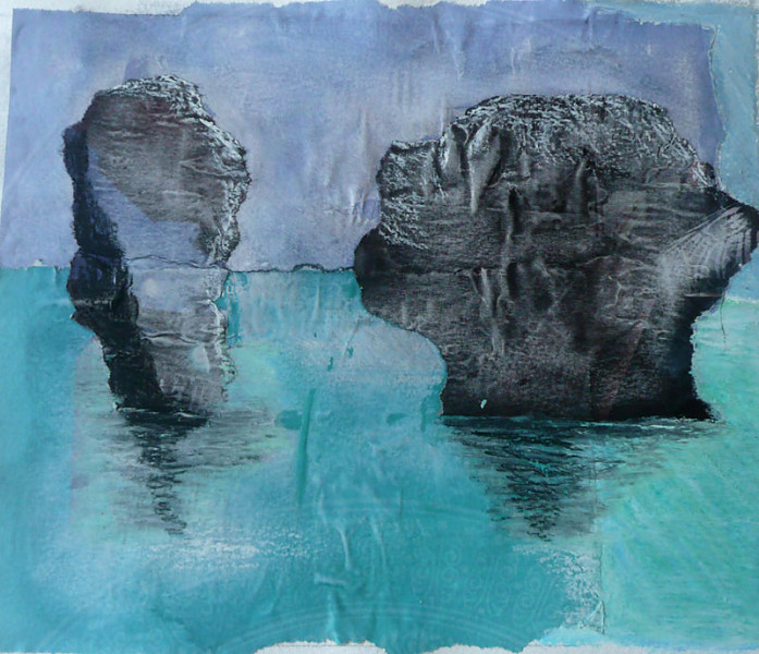 Andaman sea with rock formations, Thailand, collage in blues and greens