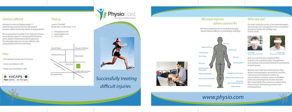 Nicole Phillips designer, physio brochure, green and blue colours