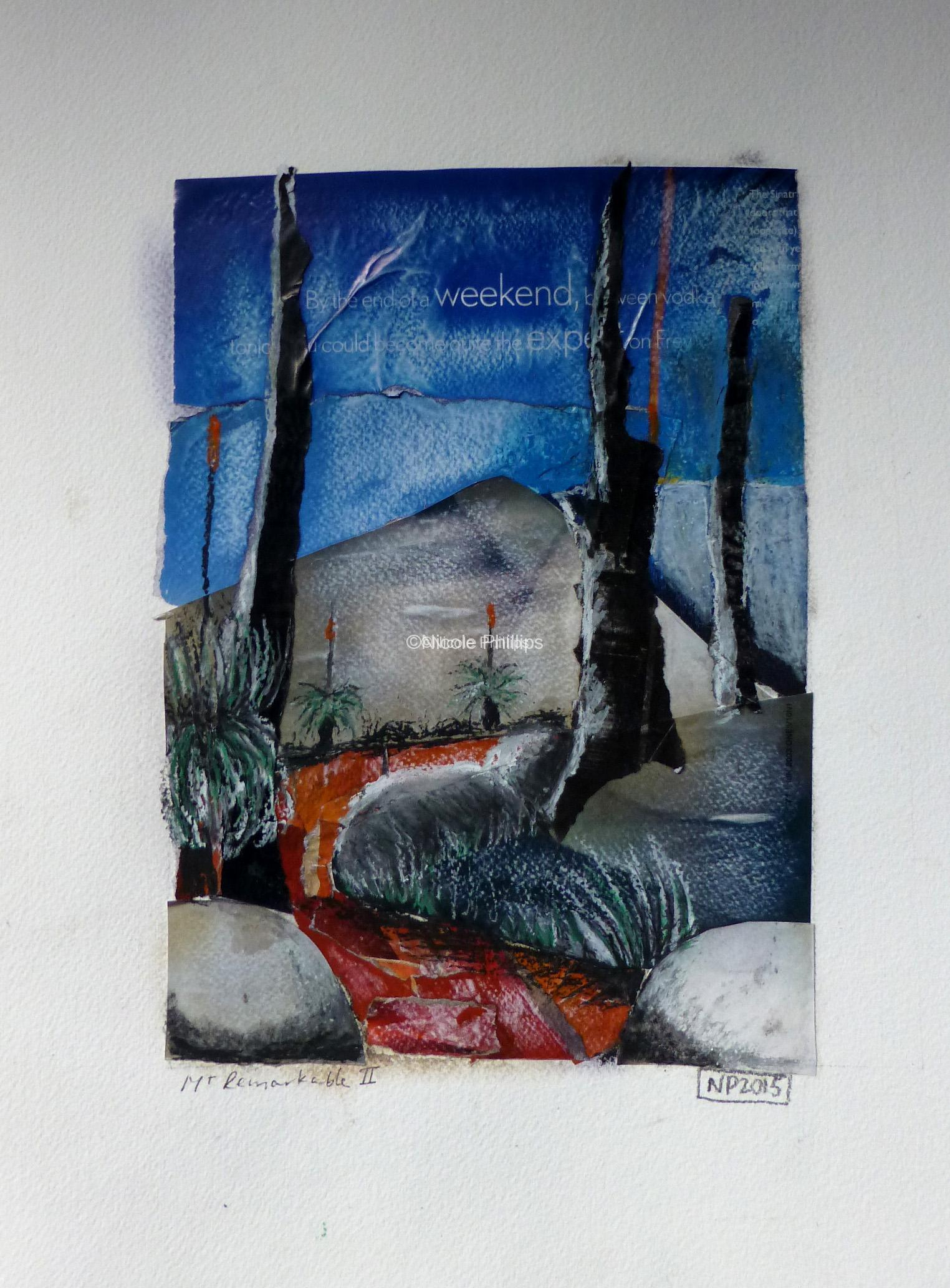 Mt Remarkable, South Australia, after fire, collage of glossy magazine paper and oil pastel
