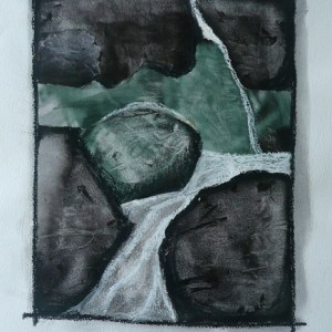 Collage of glossy magazine paper, oil pastel on paper of rocks and waterfall in greens, blacks and whites
