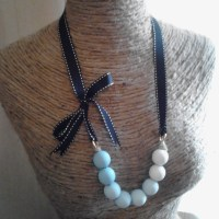 Tutorial: Tiffany Blue Ombre Wood Bead Grosgrain Necklace