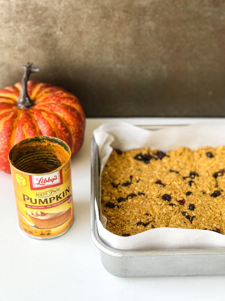Chewy Overnight Oat Pumpkin Bars
