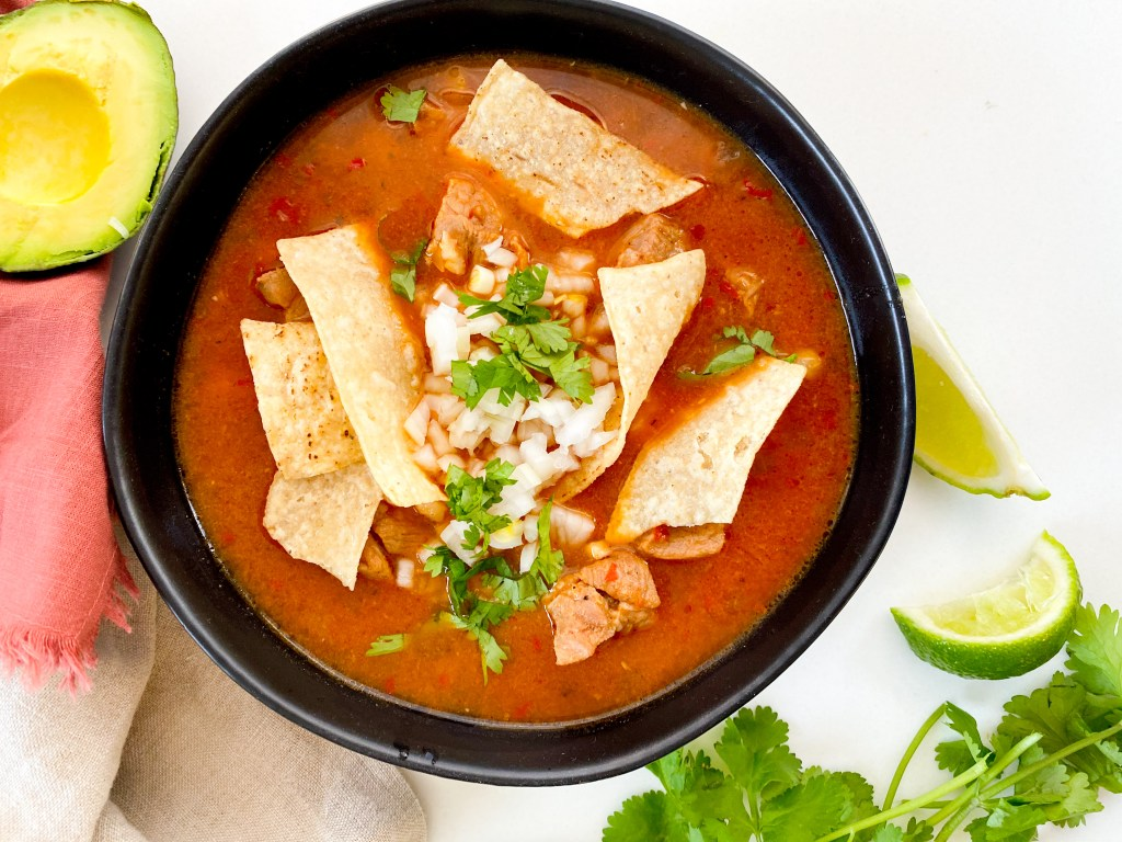Slow Oven-Roasted Mexican Pozole Rojo Soup