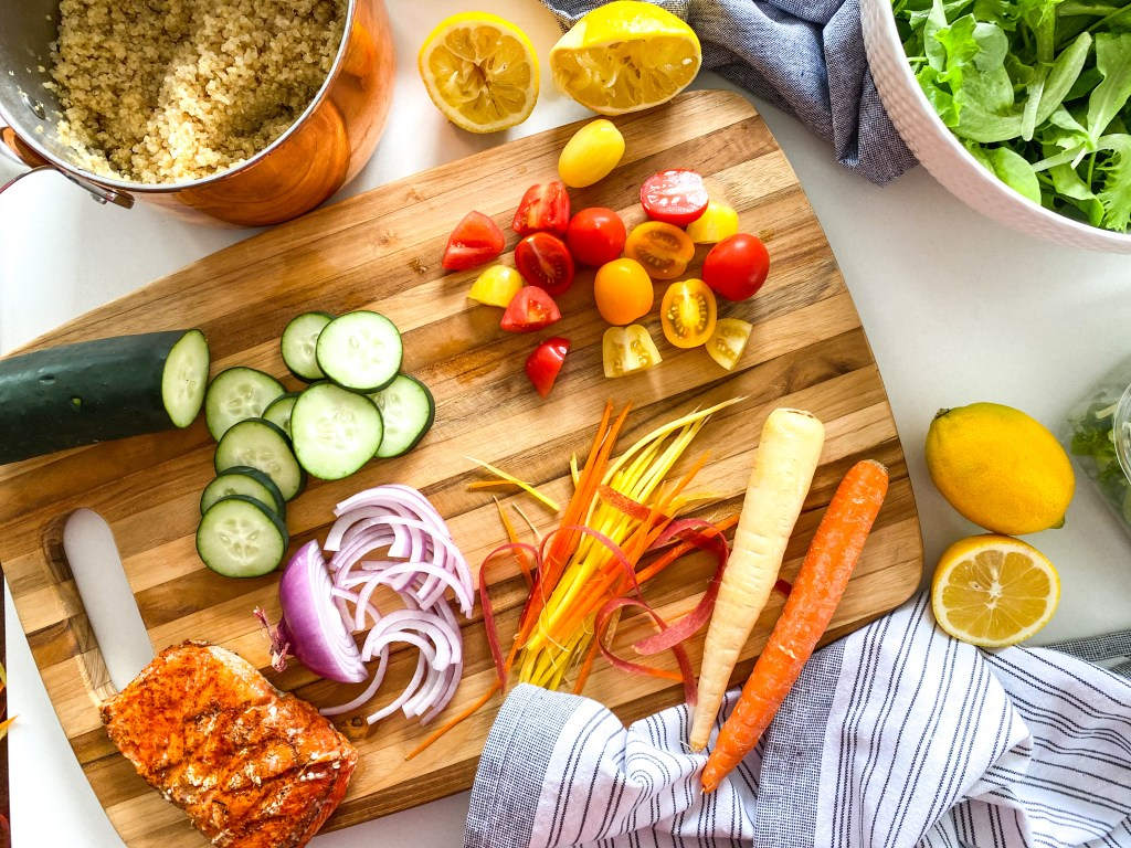 Lemon Quinoa Mint Salad with Grilled Salmon