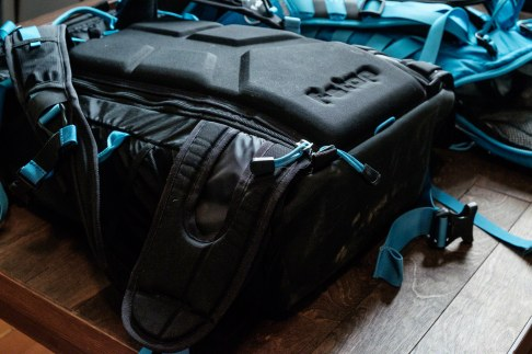 """The bag is designed for """"shallow"""" ICUs, and so with a sloped ICU the bag has a slight bulge at the base. It is not noticeably uncomfortable to use it like this, although I may consider a large shallow ICU and see if that fits a little bit better."""