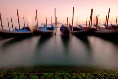 The gondolas in Venice.