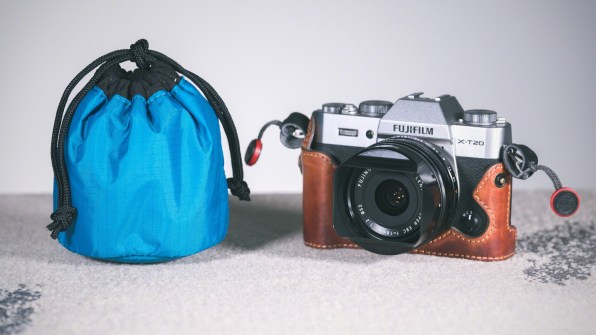 The Tamrac Goblin 1.0 lens pouch alongside a Fujfiilm X-T20 camera and 18mm lens. © Nicole S. Young (nicolesy.com)