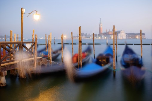 Boats in the water made for a nice subtle blur effect in this image, photographed in Venice, Italy.