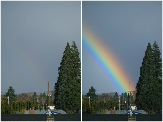 This image shows a rainbow photographed with a circular polarizer, both with the filter turned differently to either hide (LEFT) or intensify (RIGHT) the rainbow.