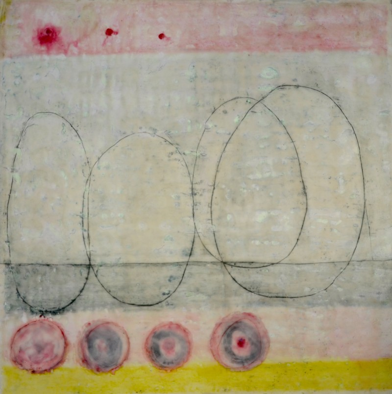 This is not a lovesong, encaustic on wood, 100 x 100x 6 cm, © 2015 Nicolet Boots