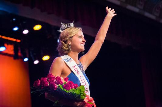 Newly crowned Miss City of Orange 2016 Nicole Renard, on stage at Chapman University Memorial Hall, Saturday, November 21, 2015.