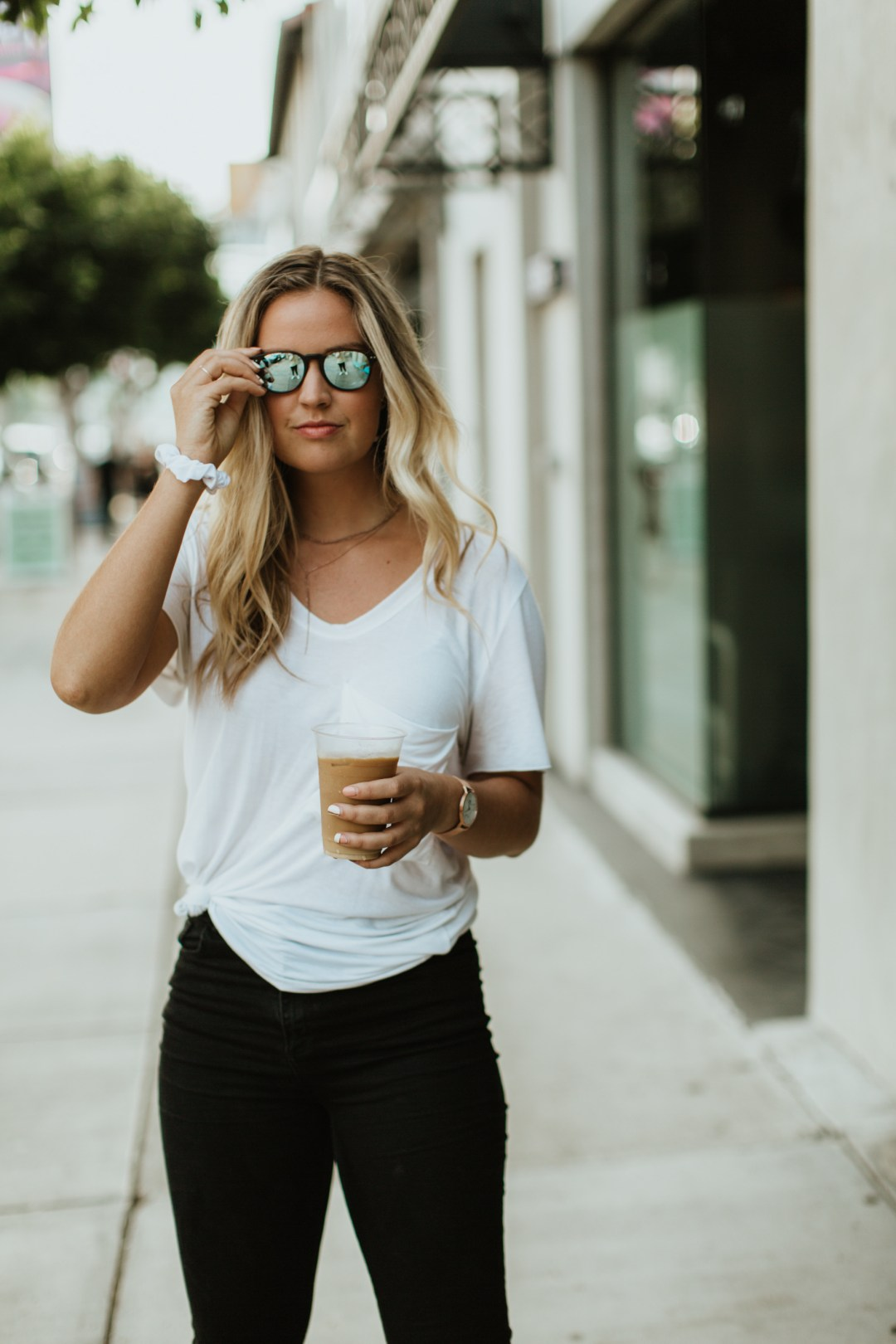 Los angeles model with coffee