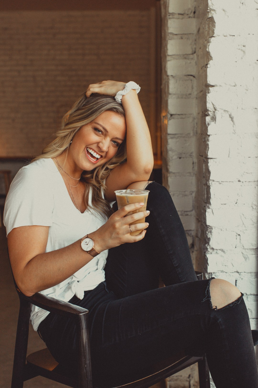 happy girl with coffee