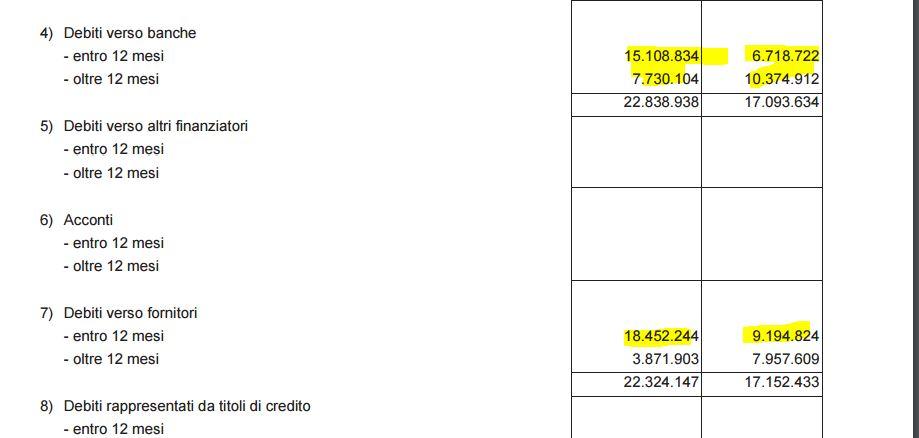 AAMPS debiti verso banche