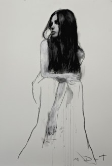 Mark Demsteader drawings -Bethany seated 3, pastel & collage øTheP 03