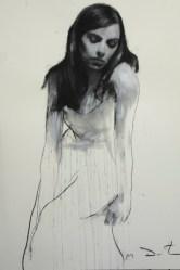 Mark Demsteader drawings -Natalie seated 1, pastel & collage øTheP 01