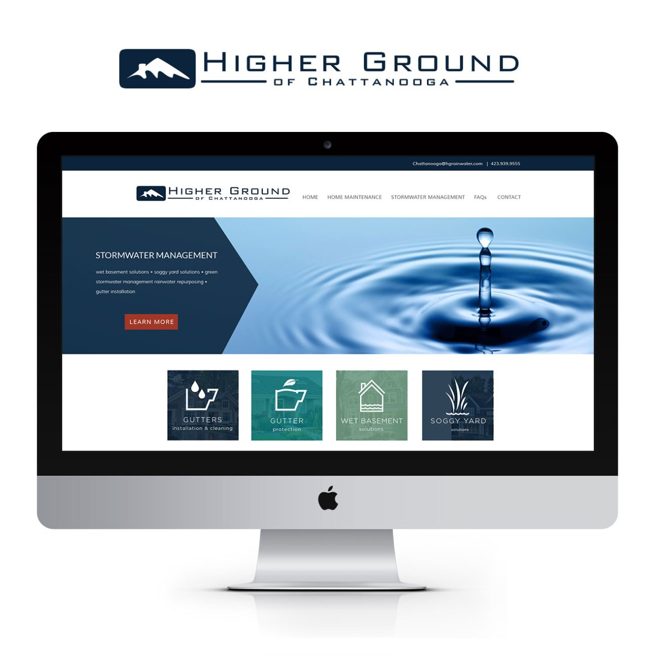Higher Ground of Chattanooga Drainage and Gutter Solutions Website Design | Nicole Victory Design