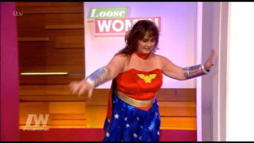 Coleen Nolan Trips As She Dresses As A Superhero On Loose Women