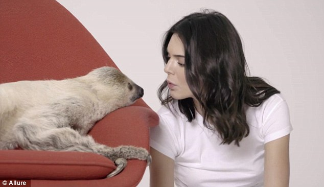 Kendall Jenner Makes Friends With A Sloth