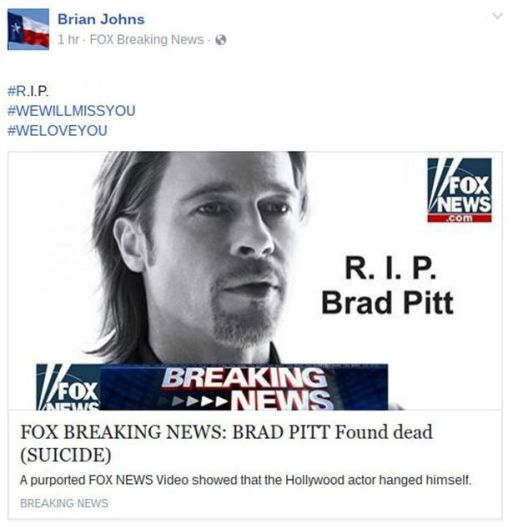 Vile Online Hoax Confuses Fans As It Says Brad Pitt Had Passed Away!