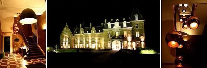 Das Chateau de la Poste angstrahlt mit Leuchten im Belgien Urlaub