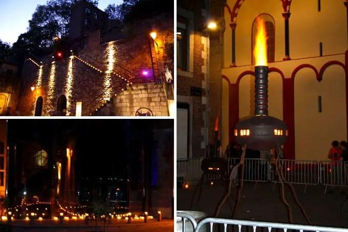 Lichterfest in Lüttich mit zahlreichen Kerzen die scheinen- Belgien Urlaub