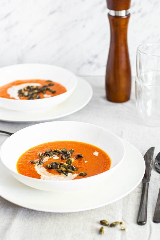 Szybki obiad rodzinny zupa krem z dyni i pomidorów