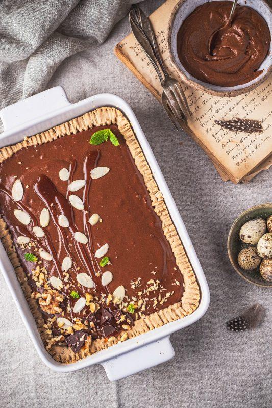 Mazurek czekoladowo-orzechowy bezglutenowy wegański