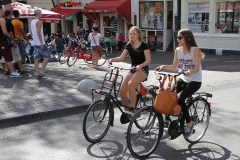 Teenagers cycling in Amsterdam