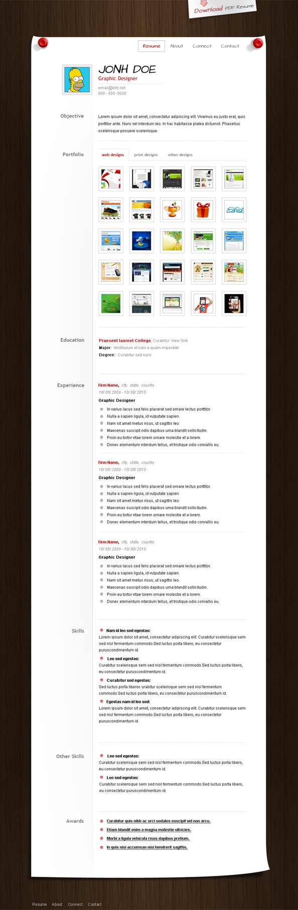 free resume template with cover letter  web designer resume